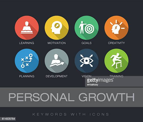 ilustraciones, imágenes clip art, dibujos animados e iconos de stock de personal growth keywords with icons - motivación