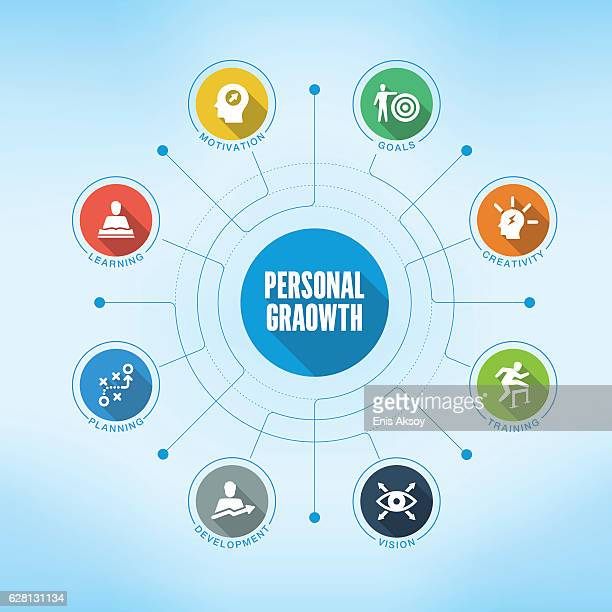 personal growth keywords with icons - role model stock illustrations, clip art, cartoons, & icons