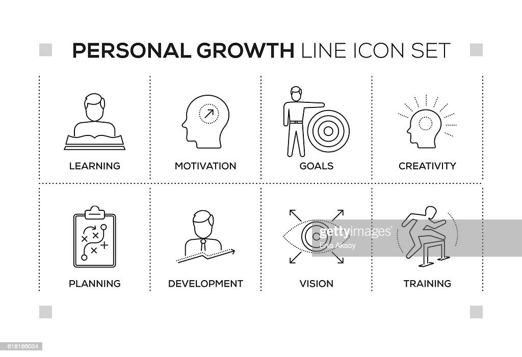 Personal Growth keywords with monochrome line icons