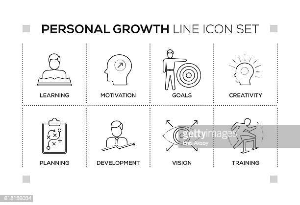ilustrações, clipart, desenhos animados e ícones de personal growth keywords with monochrome line icons - motivation
