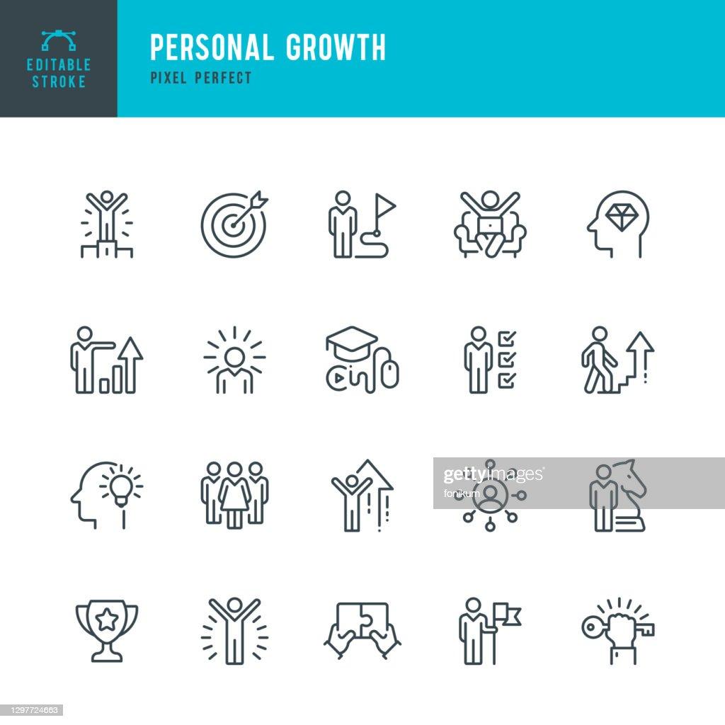 Persoonlijke groei - dunne lijn vector pictogram set. Pixel perfect. Bewerkbare lijn. De set bevat iconen: Leiderschap, Leren, Carrière, Vaardigheid, Motivatie, Moving Up, Winnaar, Succes, Competitie, Ladder of Success. : Stockillustraties
