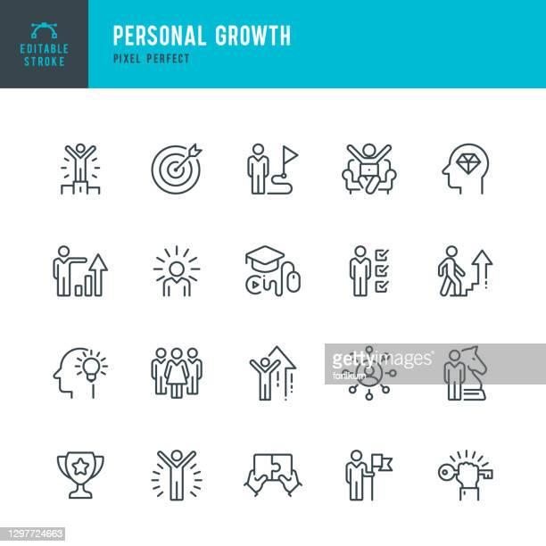 ilustraciones, imágenes clip art, dibujos animados e iconos de stock de crecimiento personal - conjunto de iconos vectoriales de línea delgada. pixel perfecto. trazo editable. el conjunto contiene iconos: liderazgo, aprendizaje, carrera, habilidad, motivación, subir, ganador, éxito, competición, escalera de éxito. - creatividad