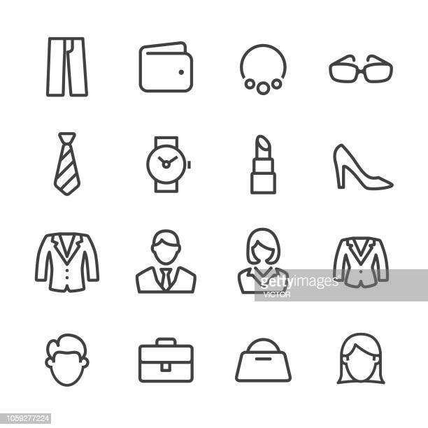 personal image icons - line series - dress stock illustrations