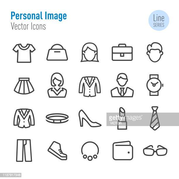 personal image icons - vector line series - tie stock illustrations