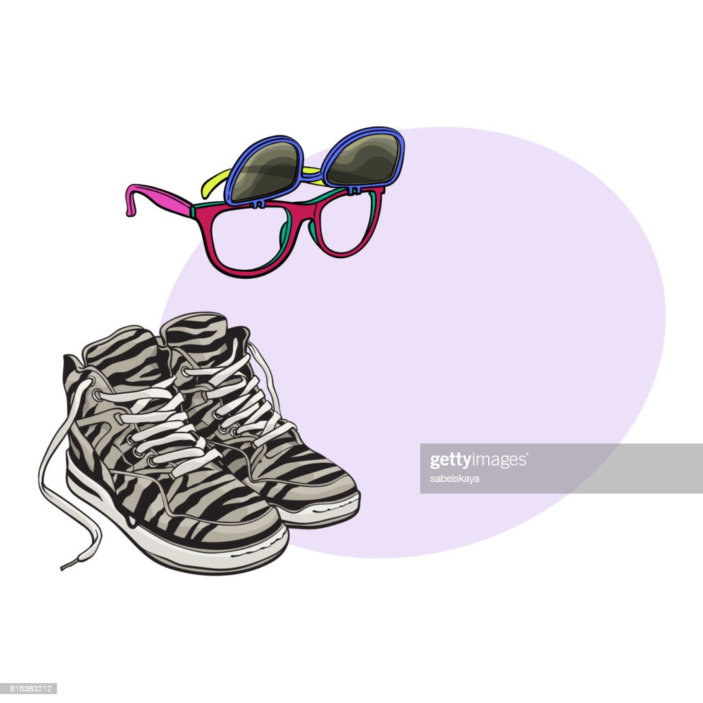 Personal items from 90s - high sneakers, sunglasses with removable lenses