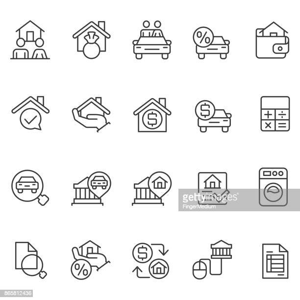 personal loan icon set - loan stock illustrations