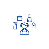 Personal maid,houskeeping  line icon concept. Personal maid,houskeeping  flat  vector symbol, sign, outline illustration.