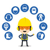 Personal protective equipment and safety icons