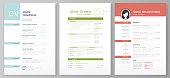 Personal resume template. Artistic profile, professional CV forms and minimalist resumes mockup vector illustration set