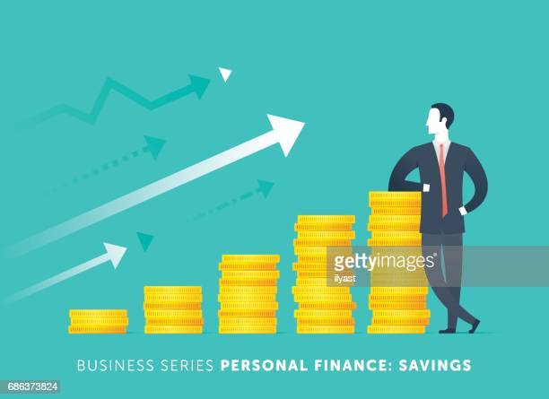 personal savings - making money stock illustrations