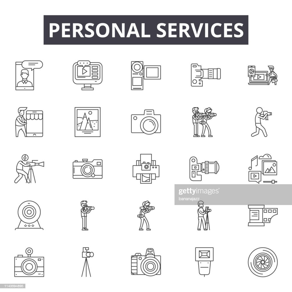 Personal services line icons, signs set, vector. Personal services outline concept, illustration: service,personal,web,customer,business,account