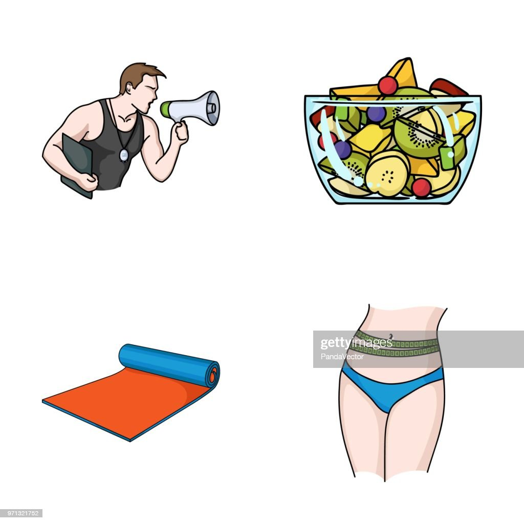 Personal trainer, fruit salad, mat, female waist. Fitnes set collection icons in cartoon style vector symbol stock illustration web.