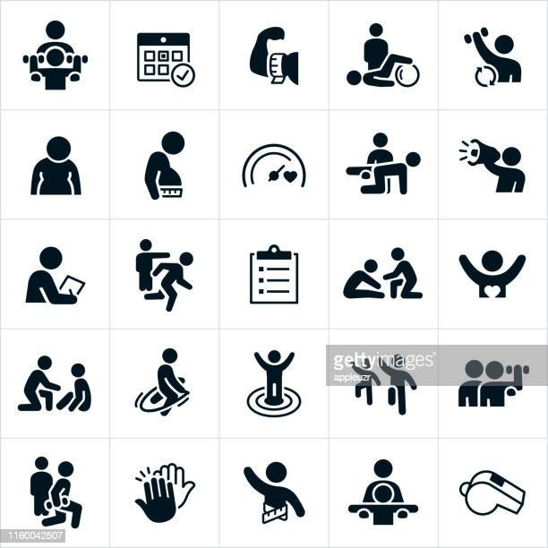 personal trainer icons - weight training stock illustrations