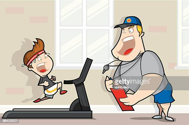ilustraciones, imágenes clip art, dibujos animados e iconos de stock de entrenador personal - hombre sensible