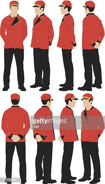 personal valet - hands behind back stock illustrations