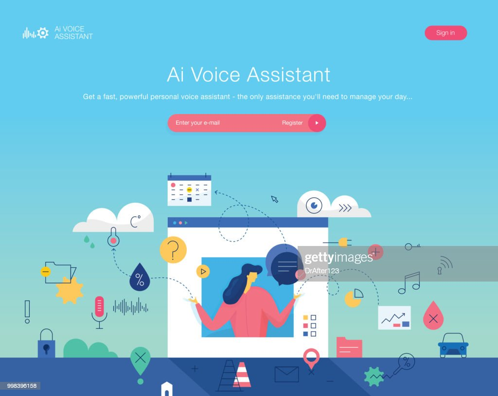 Personal Voice Assistant Website Template Vector Art Getty Images