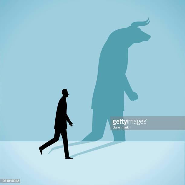 personality illustration - bull market stock illustrations, clip art, cartoons, & icons
