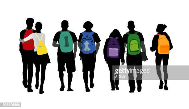personality shines backpack students - leaving stock illustrations