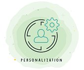 Personalization Icon with Watercolor Patch