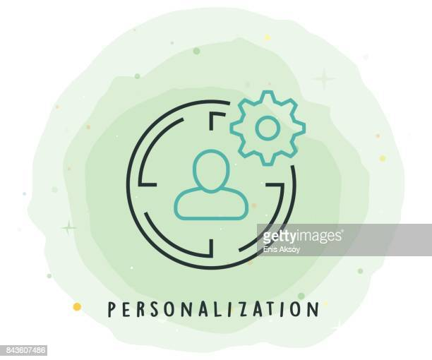 personalization icon with watercolor patch - customised stock illustrations