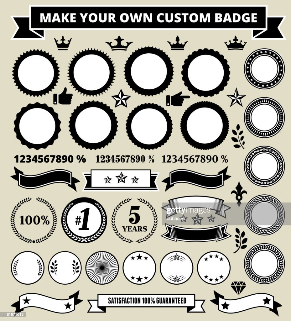 Personalized round black and white badges