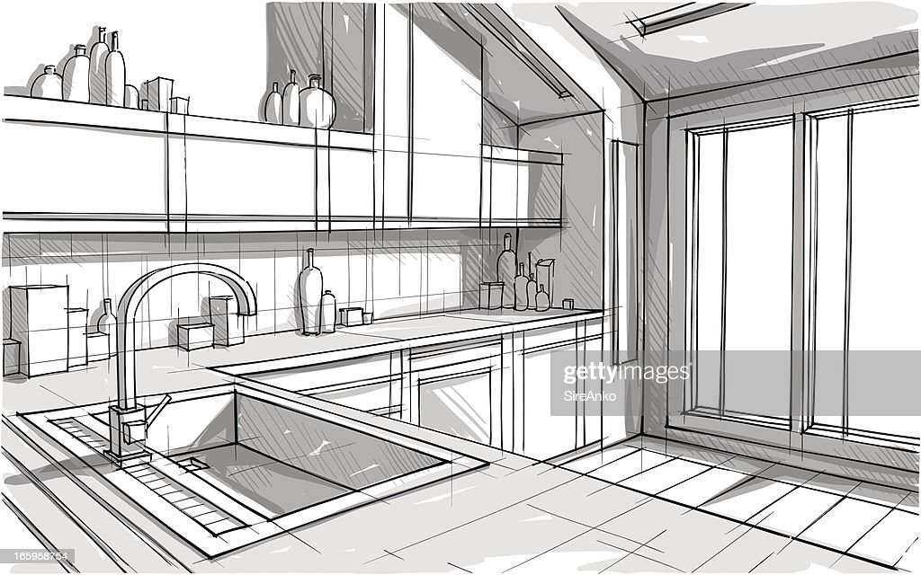 Perspective view sketch of a kitchen in greyscale