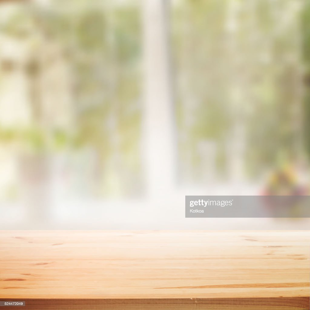 Perspective wooden table background.