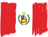 Peru Flag Vector Hand Painted with Rounded Brush