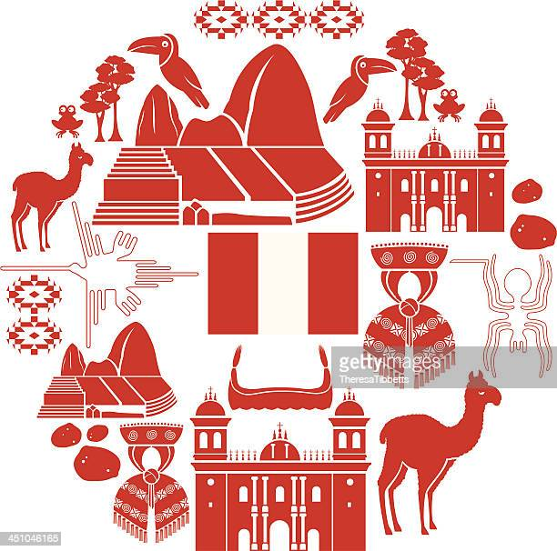 peru icon set - peru stock illustrations