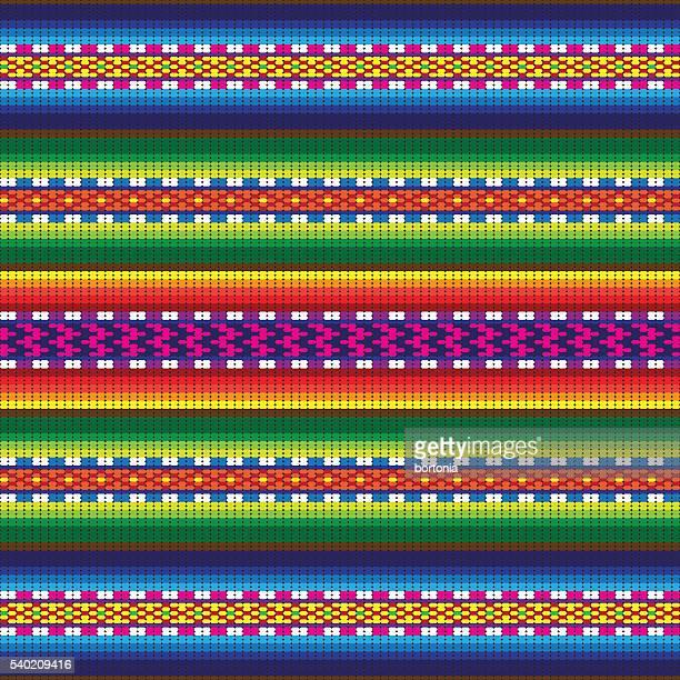 peru incan traditional woven fabric seamless pattern - latin american culture stock illustrations