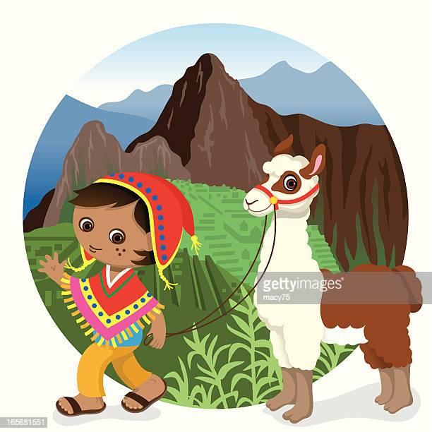 ilustraciones, imágenes clip art, dibujos animados e iconos de stock de perú machu picchu niño y arreo de llama - machu picchu
