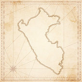 Peru map in retro vintage style - old textured paper