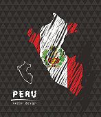 Peru map with flag inside on the black background. Chalk sketch vector illustration