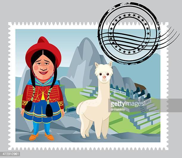 peru stamps - machu picchu stock illustrations