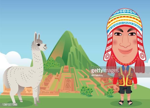 peruvian man - machu picchu stock illustrations