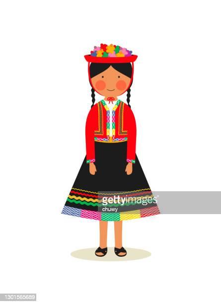 ilustraciones, imágenes clip art, dibujos animados e iconos de stock de traje nacional peruano para mujer - chuwy