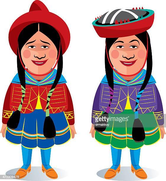 peruvian woman - machu picchu stock illustrations