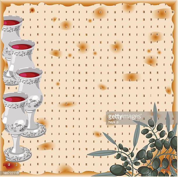 Pesach Illustration With Matzah Background, Four Glasses of Wine, Olive
