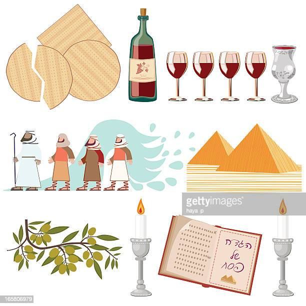 pesach symbols collection - passover stock illustrations