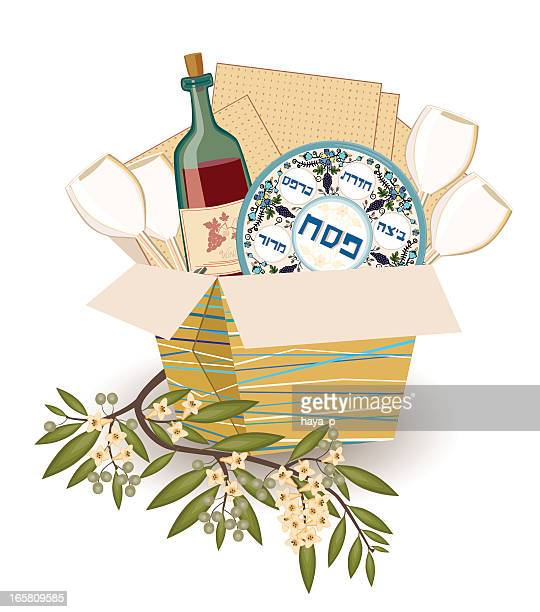 pesach symbols with olive branch - passover stock illustrations