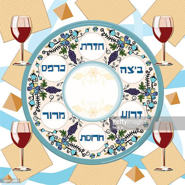 pesach traditional plate, matzoh and four glasses of wine - passover stock illustrations