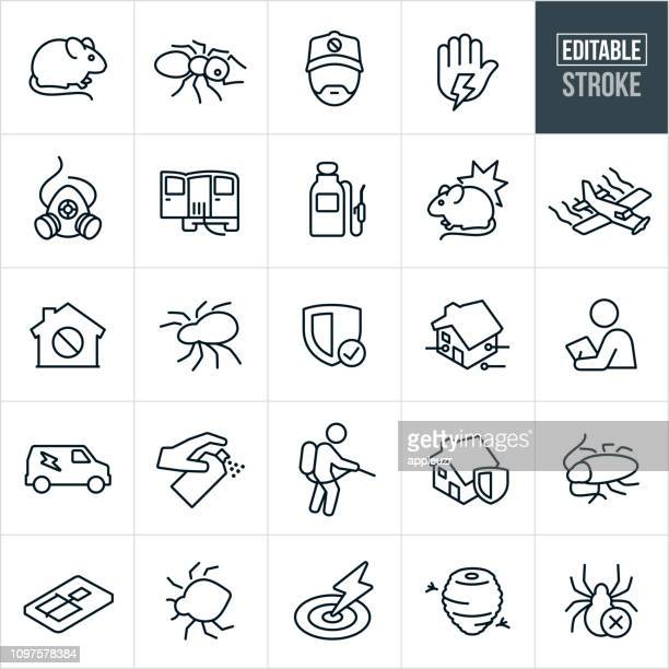 pest control line icons - editable stroke - pests stock illustrations