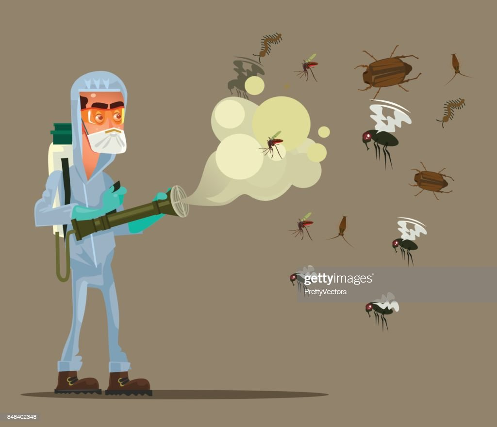 Pest control service man character trying killing insects