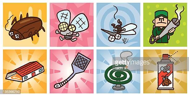 ilustraciones, imágenes clip art, dibujos animados e iconos de stock de control de plagas - cucarachas