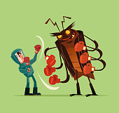 Pest insect control man worker fighter character fight wth big huge monster bug gnat termite. Extermination mosquito service concept. Vector flat cartoon graphic design isolated illustration