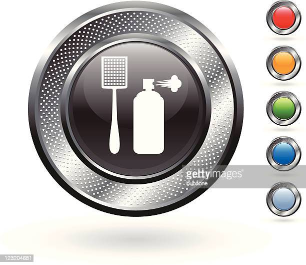 pesticide royalty free vector art on metallic button