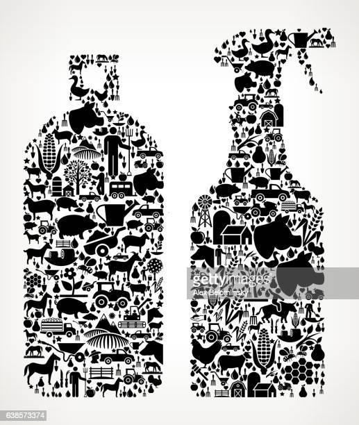 Pesticide Sprays Farming and Agriculture Black Icon Pattern