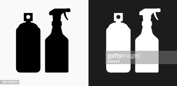 Pesticide Sprays Icon on Black and White Vector Backgrounds