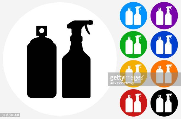 Pesticide Sprays Icon on Flat Color Circle Buttons