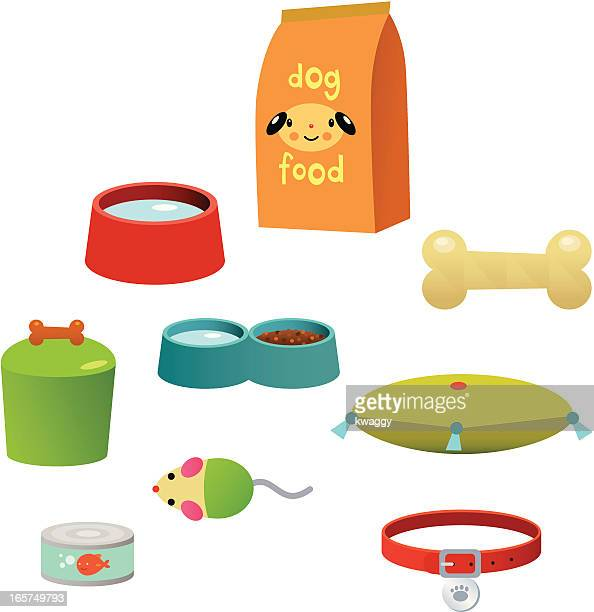 pet accessories - dog bowl stock illustrations, clip art, cartoons, & icons